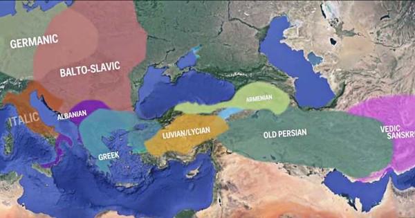 अलग-अलग भाषाओं के विस्तार को दिखाता एक नक्शा